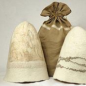 """Для дома и интерьера ручной работы. Ярмарка Мастеров - ручная работа """"Две половинки"""", подарочный набор банных шапок. Handmade."""