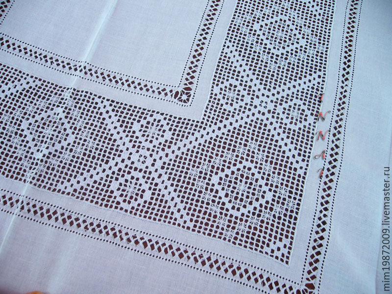 Вышивка скатерти мережки