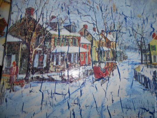 """Город ручной работы. Ярмарка Мастеров - ручная работа. Купить картина панно """"Старый город..."""". Handmade. Голубой, ретро"""