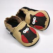 Работы для детей, handmade. Livemaster - original item Baby moccasins beige,Ebooba,Owl baby shoes,Soft sole leather shoes. Handmade.