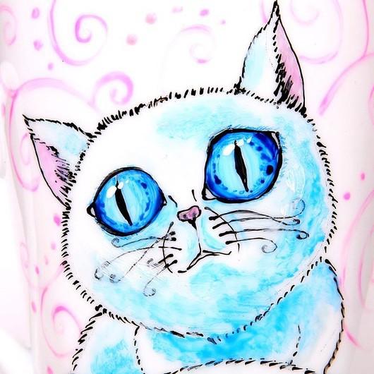 """Кружки и чашки ручной работы. Ярмарка Мастеров - ручная работа. Купить Чашка """"Голубоглазый кот"""" (0147). Handmade. Чашка, подарок"""