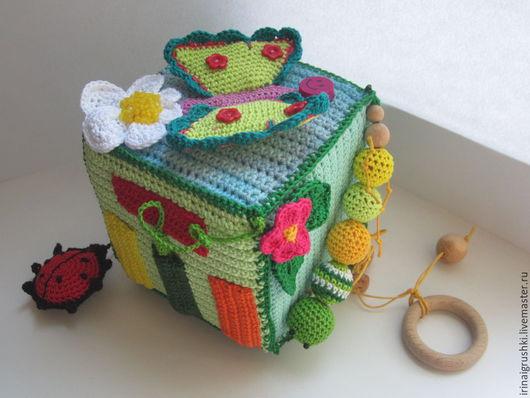"""Развивающие игрушки ручной работы. Ярмарка Мастеров - ручная работа. Купить Развивающий кубик """"Букашки"""". Handmade. Разноцветный, божья коровка"""