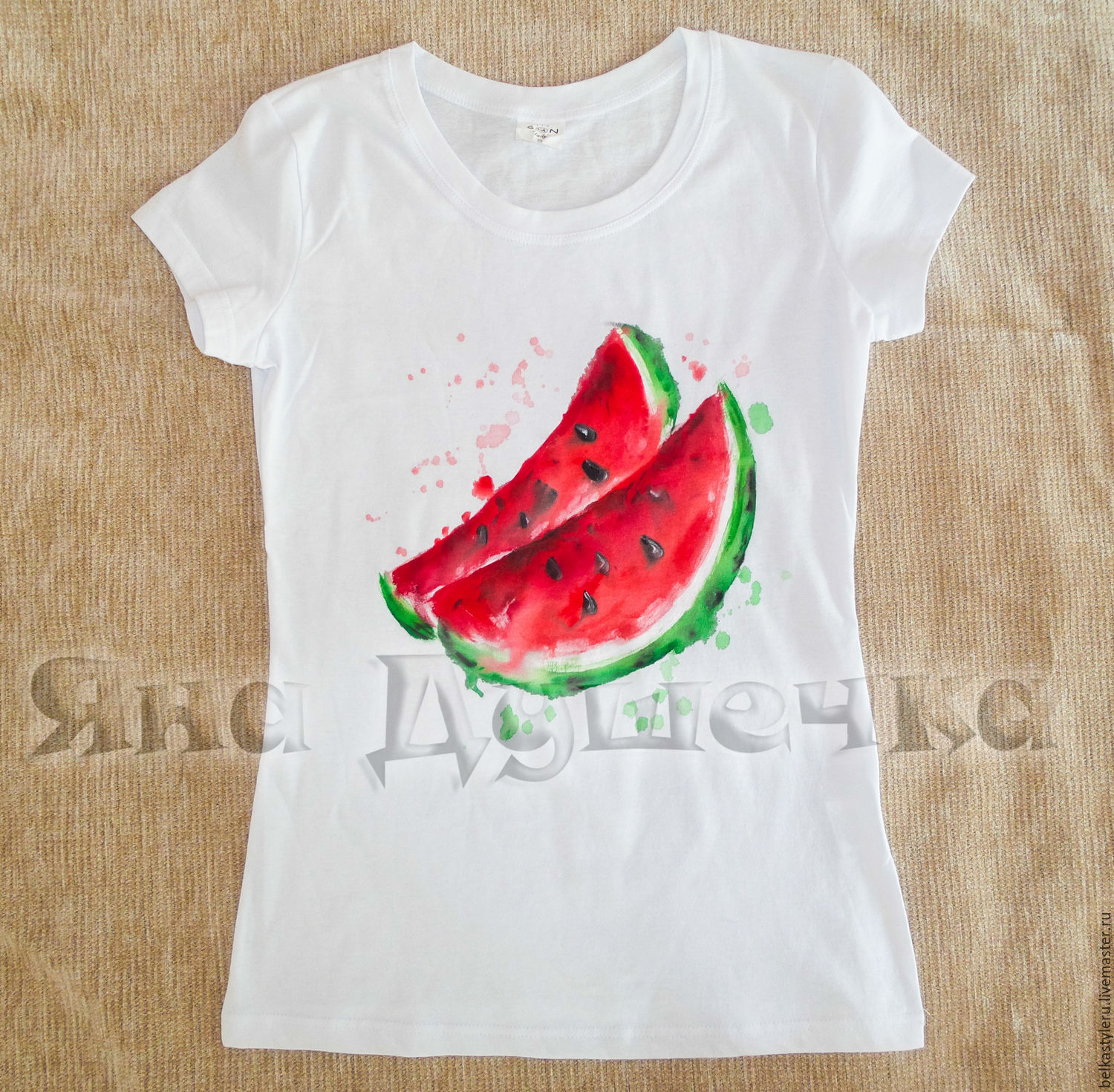 Top T-shirt watermelon hand painted – shop online on Livemaster with  FD68