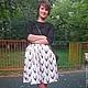 Платья ручной работы. Ярмарка Мастеров - ручная работа. Купить комплект (блузка+юбка) с оленем. Handmade. Чёрно-белый, блузка, хлопок