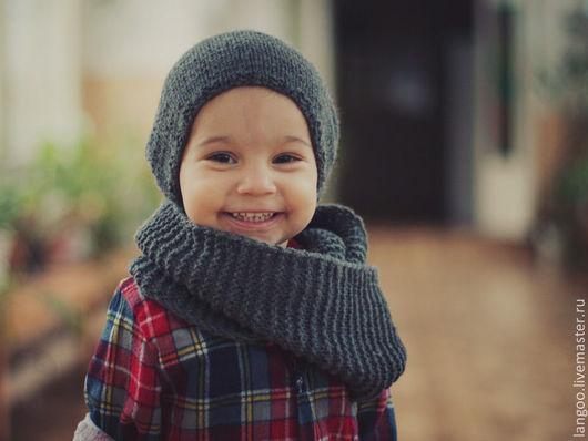Шапки и шарфы ручной работы. Ярмарка Мастеров - ручная работа. Купить Шапочка и снуд. Handmade. Темно-серый, аксессуары для детей
