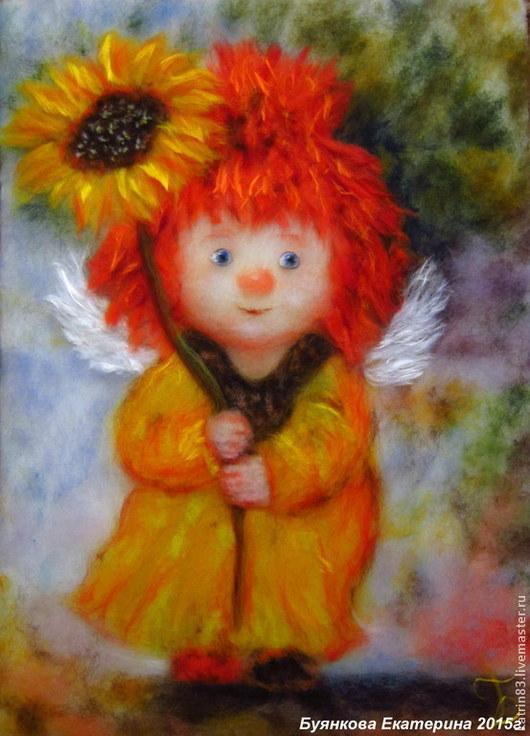 """Люди, ручной работы. Ярмарка Мастеров - ручная работа. Купить Картина из шерсти """"Ангел с подсолнухом"""". Handmade. Картины из шерсти"""