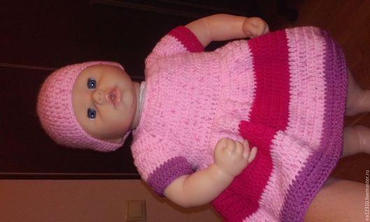 Одежда для кукол ручной работы. Ярмарка Мастеров - ручная работа. Купить вязанное платье на куклу Бэби БОН Анабель. Handmade.