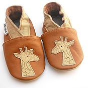 Работы для детей, handmade. Livemaster - original item Brown Baby shoes Giraffe, Leather Baby Shoes, Newborn Shoes. Handmade.