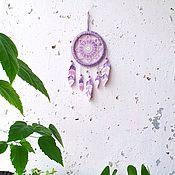 Для дома и интерьера handmade. Livemaster - original item A small lilac-pink Dreamcatcher with knitted feathers. Handmade.