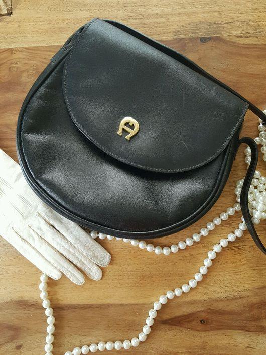 Винтажные сумки и кошельки. Ярмарка Мастеров - ручная работа. Купить Незабываемая  кожаная сумка Aigner 60-е.. Handmade. Черный
