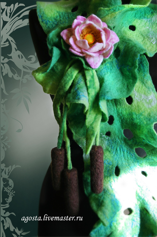 Шарфы и шарфики ручной работы. Ярмарка Мастеров - ручная работа. Купить Шарф с камышами и лотосом Зелёный валяный. Handmade. Зеленый