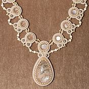 Свадебный салон handmade. Livemaster - original item Wedding soutache necklace For princess white beige pearl. Handmade.