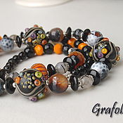 Украшения handmade. Livemaster - original item Long black and orange beads with stones. Handmade.