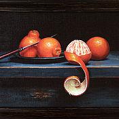 """Картины и панно ручной работы. Ярмарка Мастеров - ручная работа Картина маслом """"Натюрморт с клементинами"""". Handmade."""