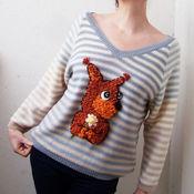 Одежда ручной работы. Ярмарка Мастеров - ручная работа Полосатый пуловер с бельчонком. Handmade.