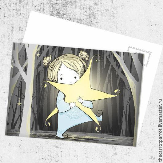 Открытки на все случаи жизни ручной работы. Ярмарка Мастеров - ручная работа. Купить Почтовая открытка «Сквозь темный лес». Handmade.