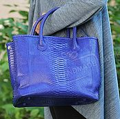Сумки и аксессуары handmade. Livemaster - original item Handbag large Python skin electric Blue. Handmade.