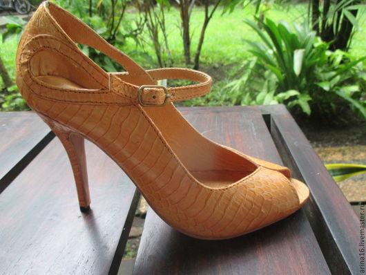 Обувь ручной работы. Ярмарка Мастеров - ручная работа. Купить Туфли из кобры. Handmade. Бежевый, туфли из змеи, натуральная кожа