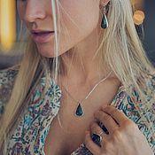 Украшения handmade. Livemaster - original item Set of jewelry with a stone serpentine teardrop shape. Handmade.