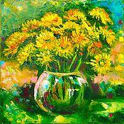 Картины и панно handmade. Livemaster - original item Picture Dandelions bouquet in a vase. Handmade.