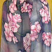 """Аксессуары ручной работы. Ярмарка Мастеров - ручная работа Шелковый шарф """"Сакура в цвету"""" шифон. Handmade."""