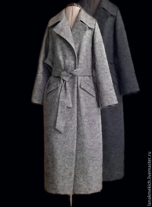 """Верхняя одежда ручной работы. Ярмарка Мастеров - ручная работа. Купить Пальто демисезонное серое с поясом  """"Шинель"""" look № 2. Handmade."""
