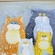 Картины и панно ручной работы. Ярмарка Мастеров - ручная работа Семейный котовий портрет ,картина маслом. Handmade.