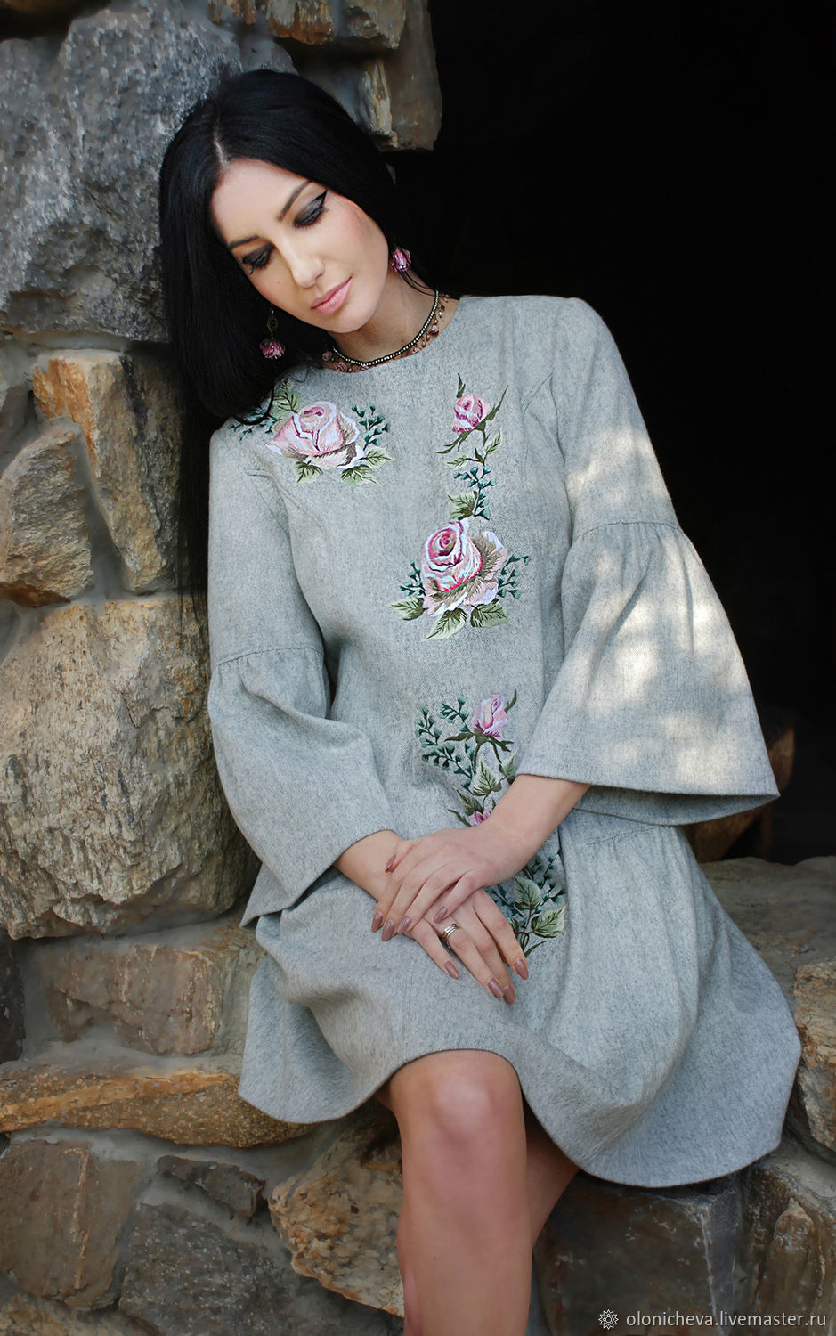 Exclusive embroidered dress in 'Dusty rose', Dresses, Vinnitsa,  Фото №1