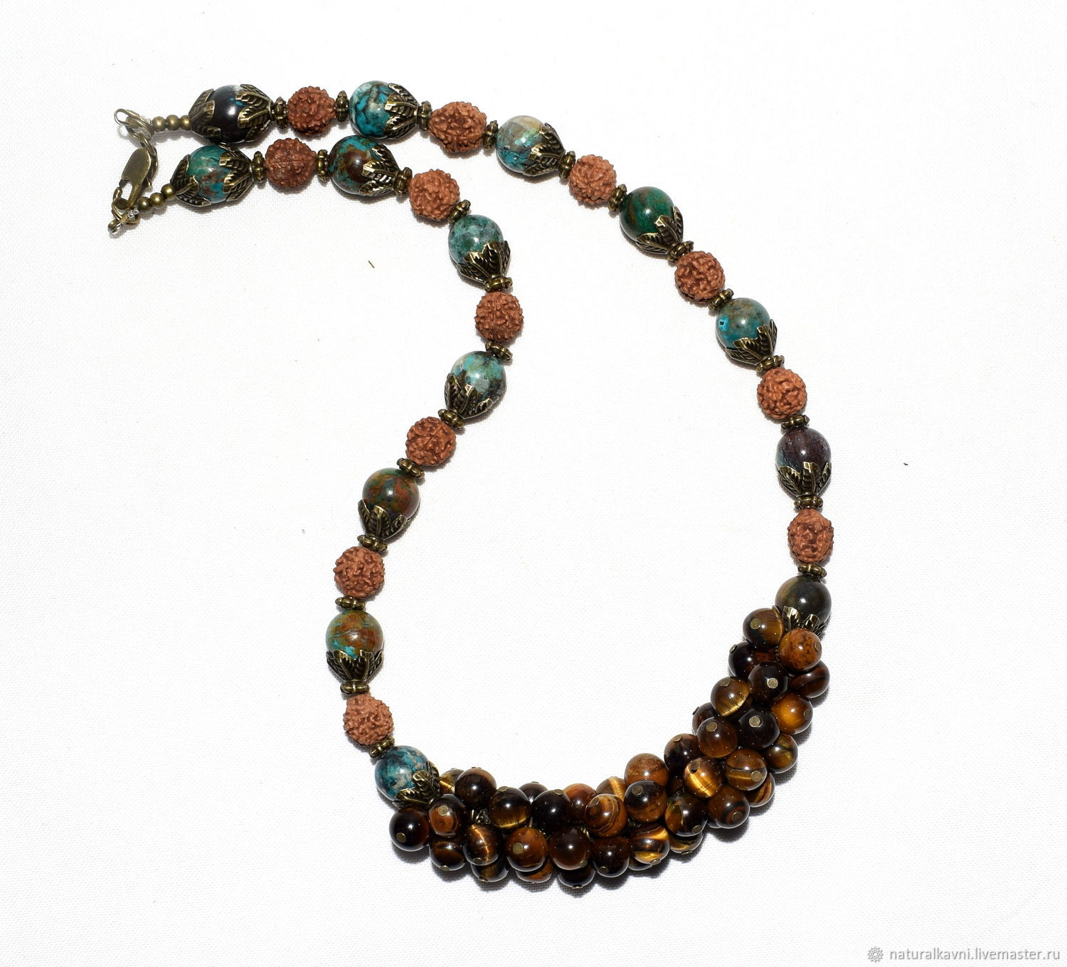 Necklace made of natural tiger's eye, Rudraksha and Indian Jasper (m), Necklace, Moscow,  Фото №1