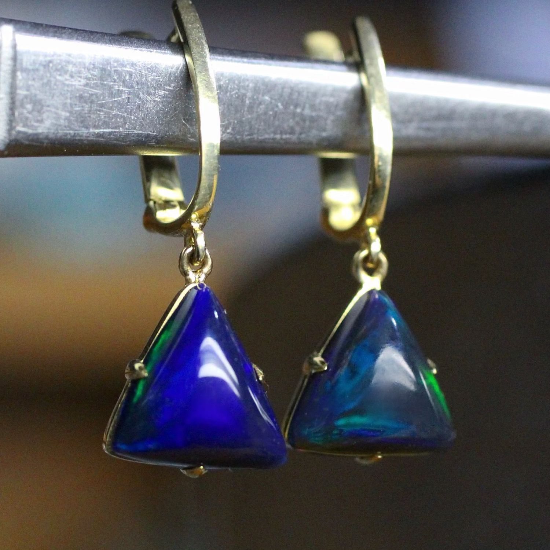 Bermuda earrings with black opals, Earrings, Moscow,  Фото №1