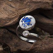 Русский стиль handmade. Livemaster - original item Gzhel, dimensionless ring in Russian style with enamel and Gzhel pattern. Handmade.