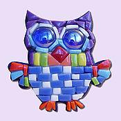 Пазлы, головоломки ручной работы. Ярмарка Мастеров - ручная работа Смальта-пазл «магнит мозаика синяя сова». Handmade.