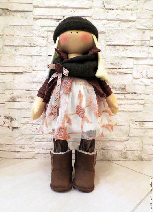 Человечки ручной работы. Ярмарка Мастеров - ручная работа. Купить Текстильная кукла Милана. Handmade. Коричневый, авторская кукла, гипюр