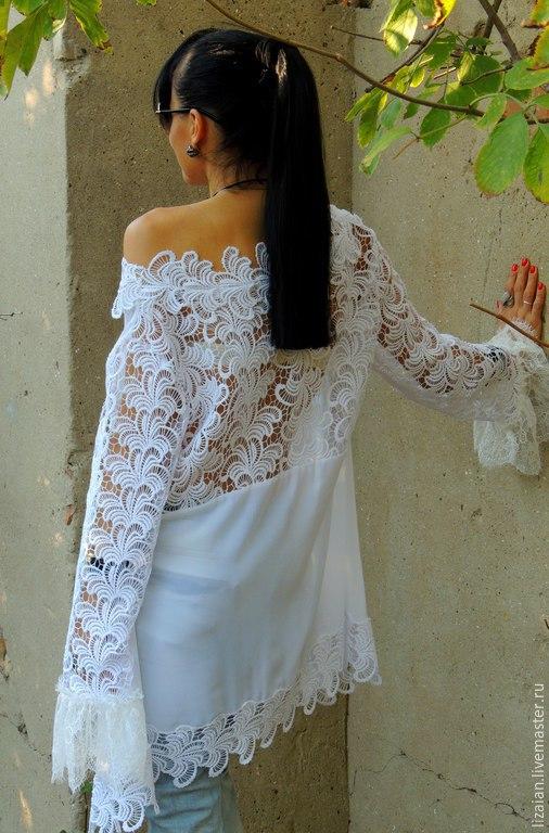 Блузки ручной работы. Ярмарка Мастеров - ручная работа. Купить Блузка БОХО (№91). Handmade. Белый, блузка нарядная