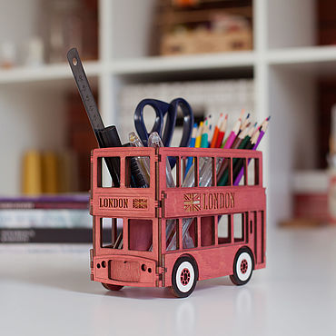 "Канцелярские товары ручной работы. Ярмарка Мастеров - ручная работа Карандашница-автобус ""London"". Handmade."