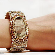 Украшения handmade. Livemaster - original item Beaded bracelet Treasure with jasper and pearls beige gold brown. Handmade.