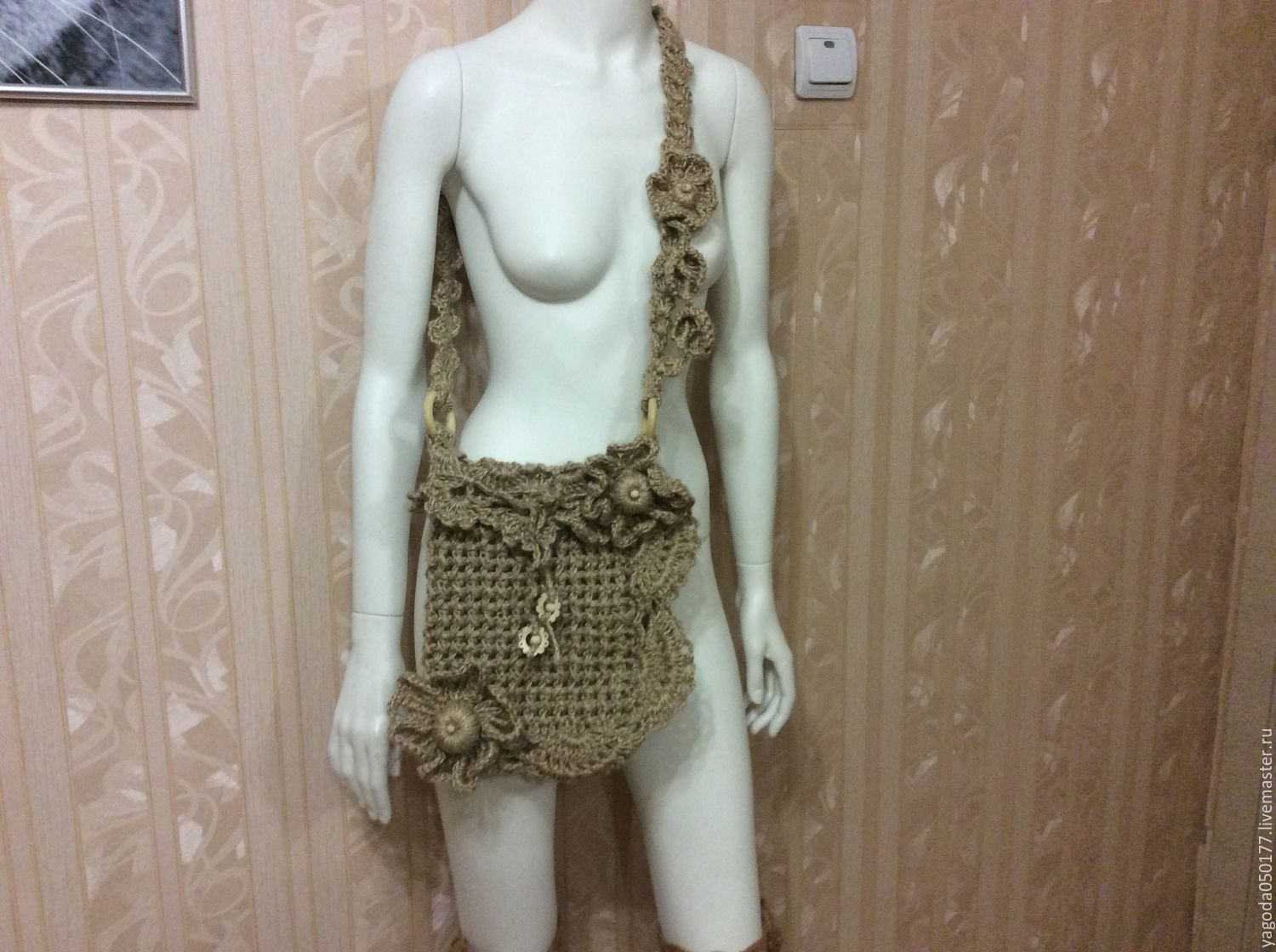 Bag-boho knitted jute'Three flowers'', Bags & Accessories handmade, Kaluga, Фото №1
