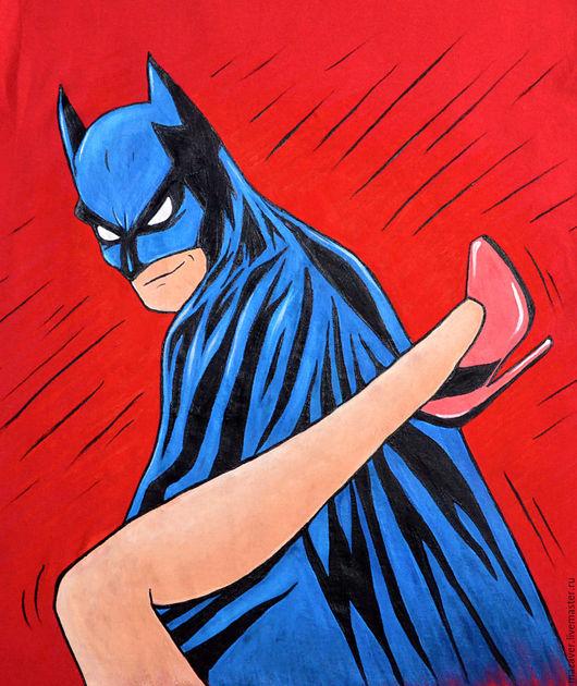 """Футболки, майки ручной работы. Ярмарка Мастеров - ручная работа. Купить Футболка """"Бэтмен - такой Бэтмен! ;)) """". Handmade."""
