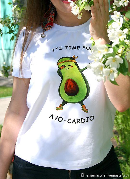 Avocado t-shirt, summer women's t-shirt AVO-CARDIO made of cotton, T-shirts, Novosibirsk,  Фото №1