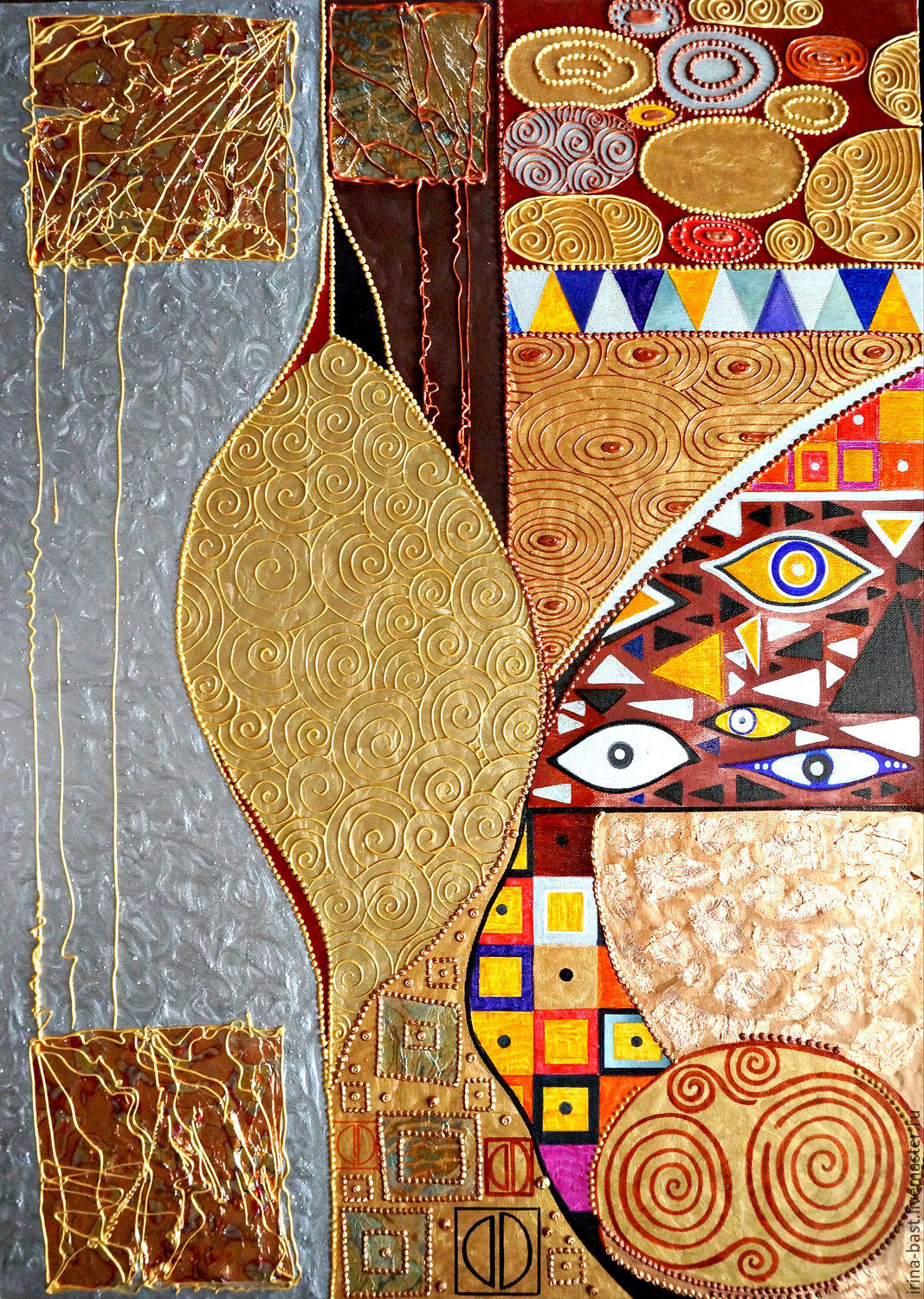 Bright gold the picture Sunny abstraction of geometry, Gustav Klimt, Pictures, St. Petersburg,  Фото №1