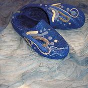 """Обувь ручной работы. Ярмарка Мастеров - ручная работа Валяные тапочки """"На дне Марианской впадины"""". Handmade."""