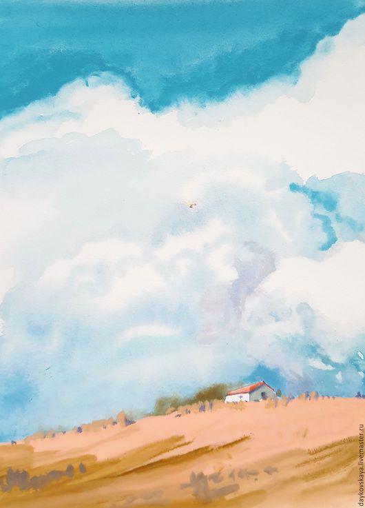 Пейзаж ручной работы. Ярмарка Мастеров - ручная работа. Купить облачно) акварель. Handmade. Комбинированный, акварель, облака, небо, пейзаж