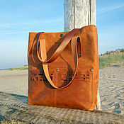 Сумки и аксессуары handmade. Livemaster - original item A shopper bag ,large, genuine leather,
