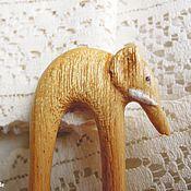 Украшения ручной работы. Ярмарка Мастеров - ручная работа Заколка Белый слон, деревянная резная, чен чен. Handmade.