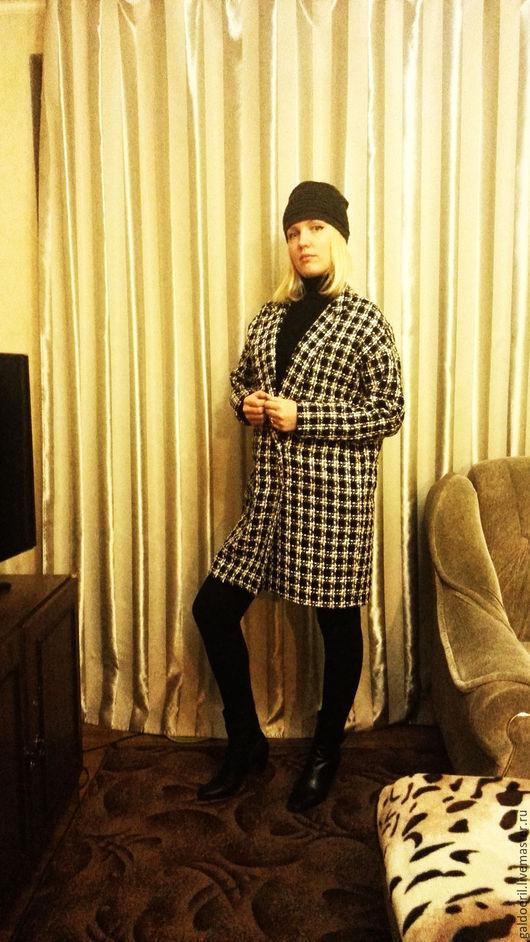 Верхняя одежда ручной работы. Ярмарка Мастеров - ручная работа. Купить Пальто букле в черно-белую клетку. Handmade. Белый