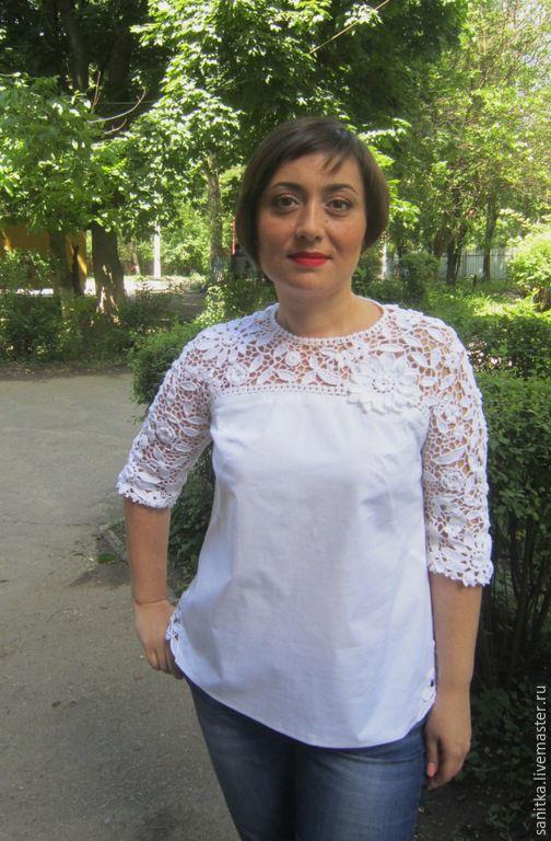 Блузки ручной работы. Ярмарка Мастеров - ручная работа. Купить Блуза Лето, кружево, цветы. Handmade. Белый, кружево хлопок