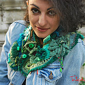 "Scarves handmade. Livemaster - original item Шарфик -горжетка  вязаный""Зеленый букет"". Handmade."