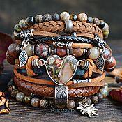 Украшения handmade. Livemaster - original item Wide leather bracelet in Boho style