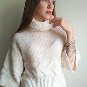 Пуловеры ручной работы. Ярмарка Мастеров - ручная работа Вязаный женский свитер Сливочный пломбир. Handmade.