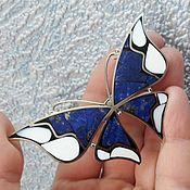 Украшения ручной работы. Ярмарка Мастеров - ручная работа Брошь Синяя бабочка. Handmade.